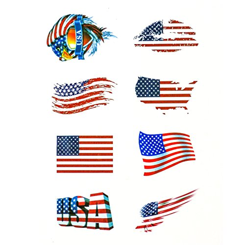 DOS Car Stickers,American/Canada Flag Stickers with High Environmental Protection Materials for Personalize Laptops, Cars, Bumpers, Bikes, Bicycles (American, Tattoo Sticker)