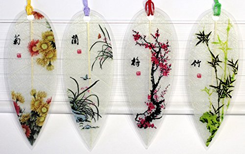 Lucore Leaf Bookmarks - Chinese Flower, Bamboo & Plants Lucky Charm, Ornament, Hanging & Wall Decor, Art Decoration - 4 Pcs, Made of Real ()