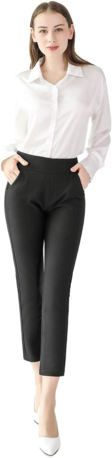 sphinx cat Women's Trousers for Casual Work Female Straight-Leg Stretchy Ankle Pants for Girl Business Office Petite Black