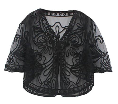 Bolero Style Festa Cardigan Coprispalle Da Vintage Dolce Donna Partito Moda Nero Top Trasparente Elegante Cerimonia Sera Ragazze Da Pizzo wwB7Oqx6