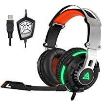Supsoo G800 USB Wired Surround Stereo PC Over Ear Gaming Headset Kopfhörer mit rotierenden MIC Noise Cancelling Vibration Tuner Funktion und LED Light (schwarz)