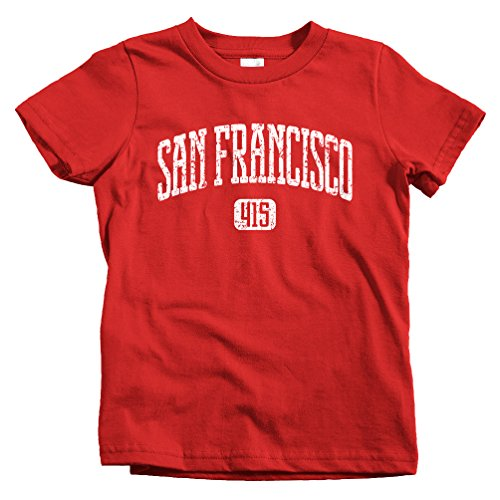 Smash Vintage Kids San Francisco 415 T-shirt - Red, Youth X-Large (South Gate City)