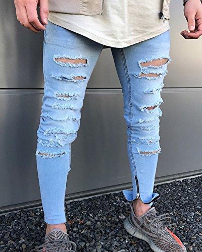 Jeans Azzurro Chiaro Pantaloni Conici Skinny Casual Fori Traspirante Stretti Uomo Strappati zxqvTwcgn5