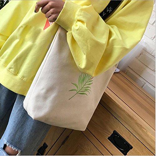 Damen Print Hand Canvas Strand Schulter Frauen Messenger Tote Bags Female Handtasche (Yellow) White