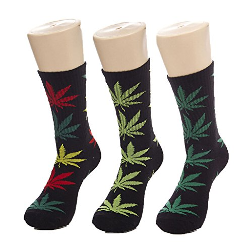 Chic Grass Marijuana Leaf Mens Black Polyester Sport Socks 3 Pair Pack Chic Deodorant
