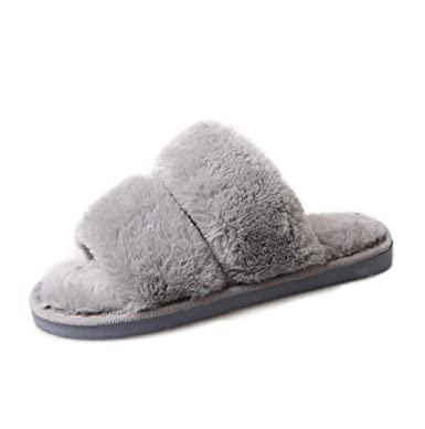 9ca6240354fcf Photno Women Cotton Slippers, Women Winter Fashion New Pattern Fluffy Faux Fur  Open Toe Furry