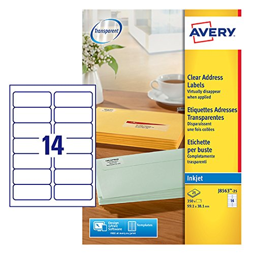 Avery J8563-10 - Etichette trasparenti Avery Tico Srl