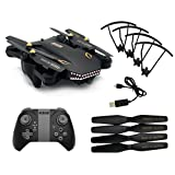 CSSD Upgrade VISUO XS809HW {WiFi Wide-Angle} {2MP Camera 2.4G Selfie} RC Quadcopter Toys (Black)