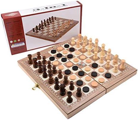 G-Tree 3 en 1 Multifuncional de Madera Juegos de Mesa Juego de ajedrez - Ajedrez y Backgammon y borradores para Niños a Partir de 6 años y Adultos - 29 x 29
