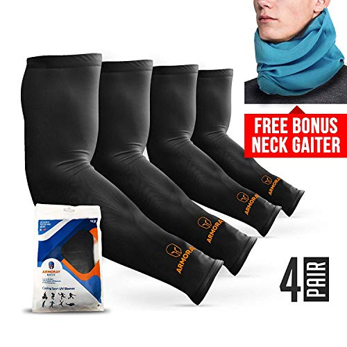 ARMORAY Arm Sleeves for Men or Women - Compression Warmers to Cover Tattoo - For Basketball Golf Running Football Cycling or Sun Protection (Black 4 Pair) ()