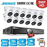ANNKE 3-Megapixel (1920x1536P) Outdoor Security Camera System 16CH 4K DVR Recorder with 2TB Hard Drive(DVR Storage) and (12) 3MP Weatherproof Surveillance Cameras,Metal Housing