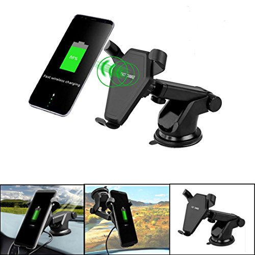 Kanzd Car Mount Wireless ChargerDock Charging Dock For Samsung S9/S8 Note 8 For Iphone (Black)