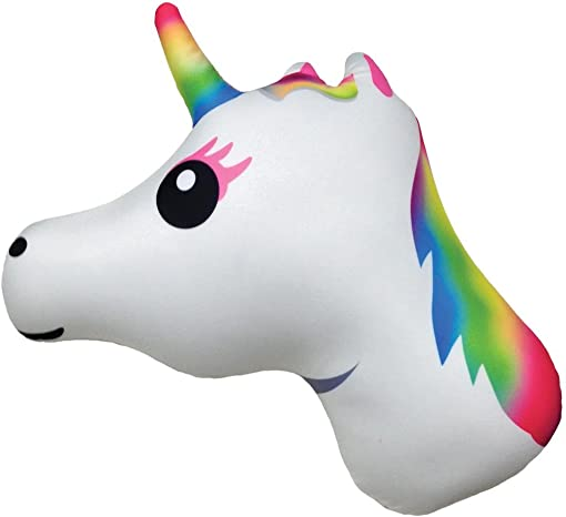 iscream X-Pressive Emoji Rainbow Unicorn Shaped 18.5 Microbead Accent Pillow