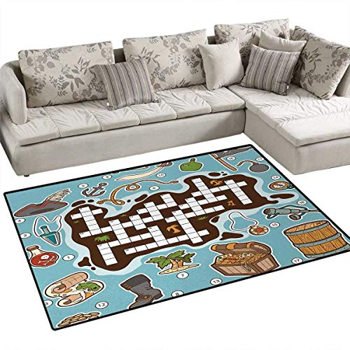 Word Search Puzzle,Carpet,Kids Cartoon Game Grid Numbers Finding The Right Words Pirate Icons,Area Silky Smooth Rugs,Multicolor,48