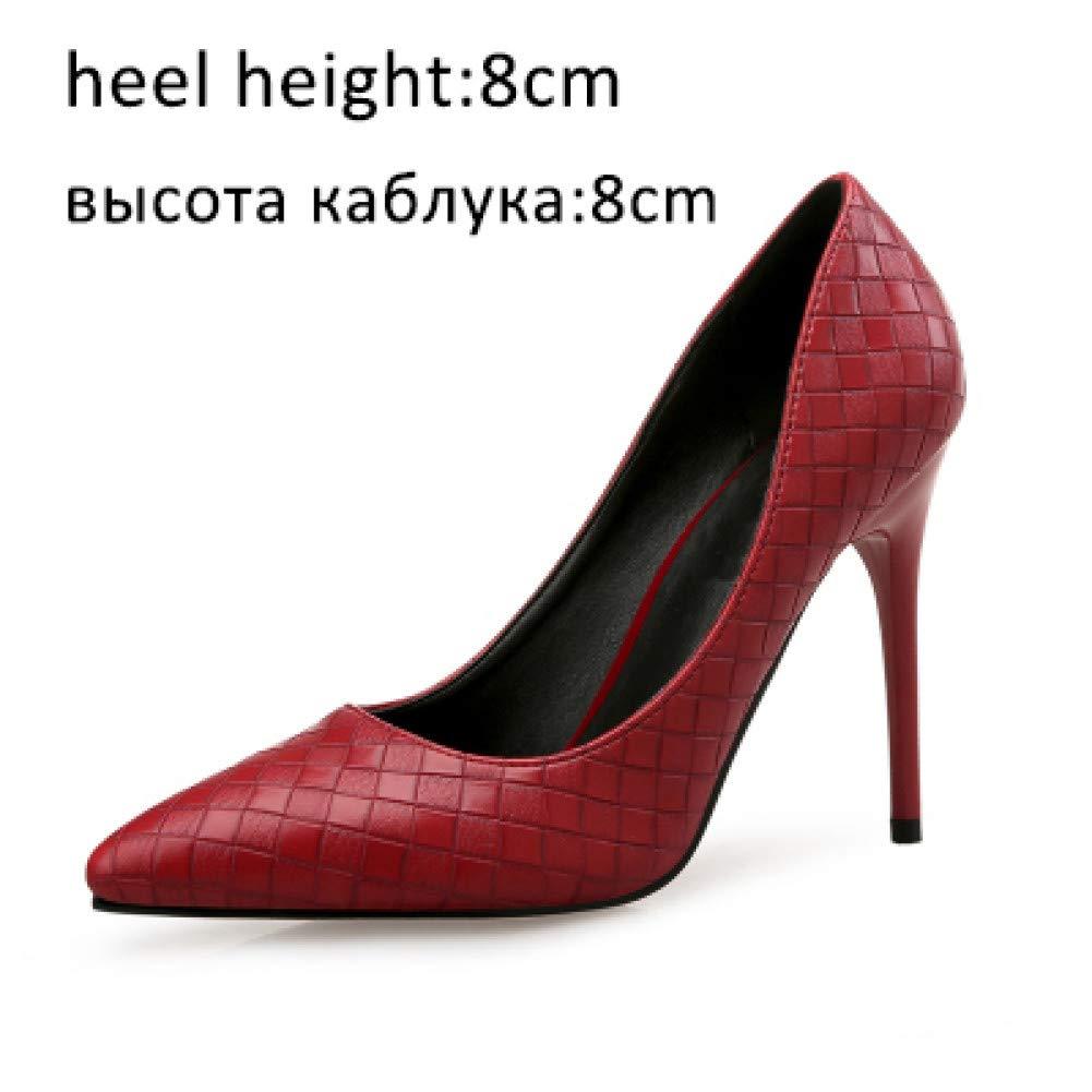 Chaussures rouges 8cm GGXYJF Femmes Chaussures Talons Hauts Hauts Hauts Bout Pointu Femme Escarpins   Treillis Chaussures De Fete De Printemps GlisseHommest sur Le Bureau Les Les dames Chaussures ede