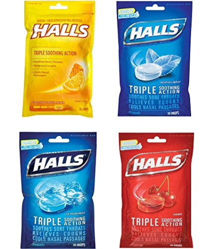 HALLS Triple Soothing Action Cough Drops Bundle – Honey Lemon, Cherry, Mentho-Lyptus, and Ice Peppermint (30 Drops/Flavor for a Total of 120 Drops/Variety (Cough Drop Cherry Honey)