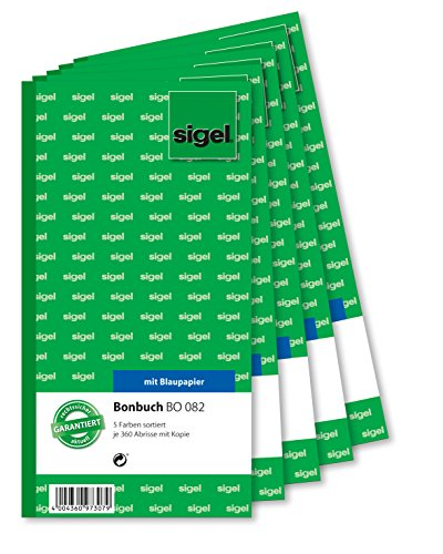 Sigel BO082 Voucher Book 5X 360 Tickets 5 Colours Assorted with Blue Paper 105 x 200 mm 2 x 60 Sheets by Sigel