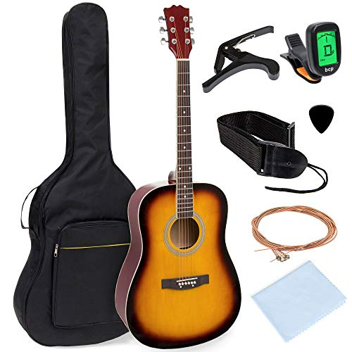 Best Choice Products 41in Full Size All-Wood Acoustic Guitar Starter Kit w/Foam Padded Gig Bag, E-Tuner, Pick, Strap, Extra Strings, Polishing Rag – Sunburst