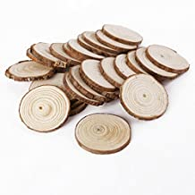 Surepromise 25Pcs 5CM Wooden Wood Log Slices Discs Natural Tree Bark Table Decorative Wedding Centerpieces Round