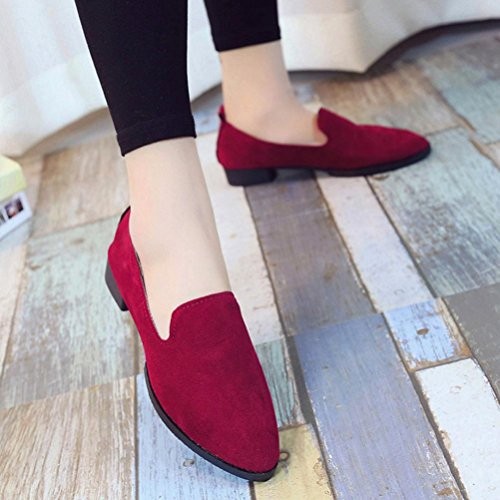 Byste Women Flat Pointed Shoes, Loafer Ladies Casual Scrub Shoes Solid Slip Sandals Red