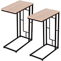Tangkula Set of 2 Snack Tables Coffee Tray Side Sofa End Table Ottoman