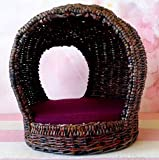 Wicker Cocoon Chair for Doll. Whimsical Unique Modern Miniature Garden Armchair. 1:6 Furniture