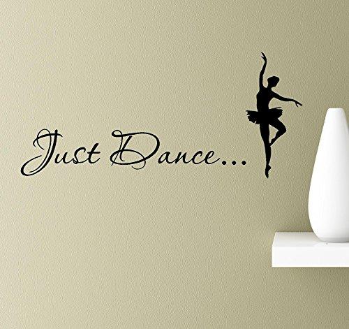 #2 Just dance ballerina dancer pas de deux silhouette pose en pointe wall art quotes sayings vinyl decals home inspirational love bible sticker (Black) Just Ballerinas