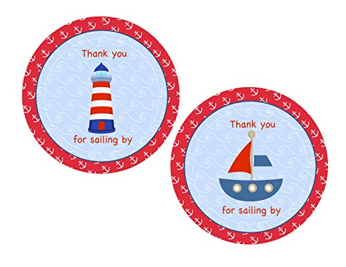 Nautical Thank You Stickers 24 pcs, Sailor Favor Tags, Birthday Decoration Party Supplies, Anchor Baby Shower Themed Celebration ()