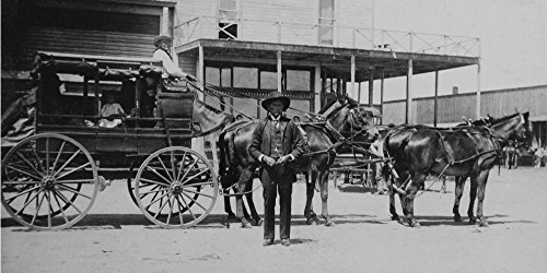 Quanah Parkers Stage Coach Ca 1890s -Street Scene With Comanche Indian Leader Quanah Parker Standing Next To His Stagecoach With And Indian Driver And Appears To Be Indian Child In Coach Poster Print