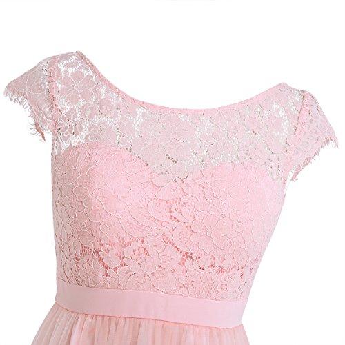 iEFiEL Vestido Plisado de Noche Encaje Cóctel Manga Corta para Mujer Chica Transparente Vestido Floreado Rosa de Perla