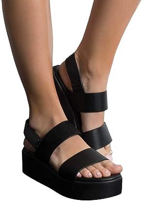 1083e8028a1d AKIRA Women s Flatform Platform 2 Thick Straps Velcro Ankle Festival Chunky  Sandals-BLACK 6