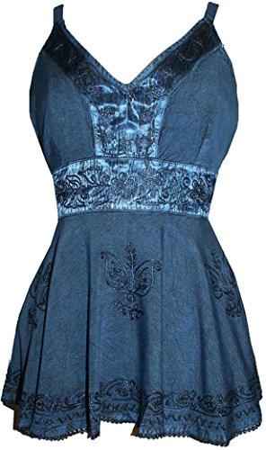 121 Agan Traders Medieval Vintage Top Blouse (Blue, L)