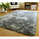 Zeff Furnishing Polyester Anti Slip Shaggy Fluffy Fur Rugs and Carpet for Living Room, Bedroom (Grey, 4x6 feet)