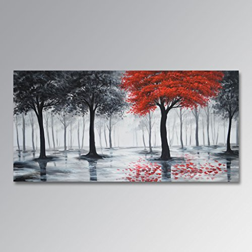 Everfun Art Handmade Oil Painting On Canvas Large Black and Red Abstract Landscape Wall Art Modern Forest Artwork Tree Decor Unframed 72x36 inch by EVERFUN ART