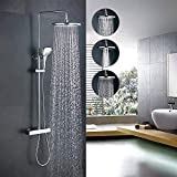 Home Lody Thermostat Shower System Thermostatic Shower Mixer Set Bathroom Shower Set with Riser Rail Kit Shower Head and 3 Functions Hand Shower