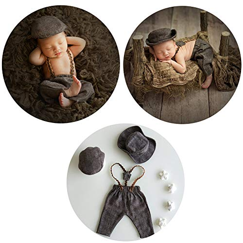 Infant Baby Photo Props Crochet Romper Newborn Photography Caps Set Cool Monthly Boys Knitted Berets Hat Outfits Clothes 3pc Brown by Newborn Costumes Set (Image #7)