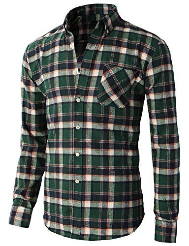 H2H Men Casual Slim Fit Flannel Plaid Patterned Button-Down Shirts with Chest Pocket Green US S/Asia M (KMTSTL0399)