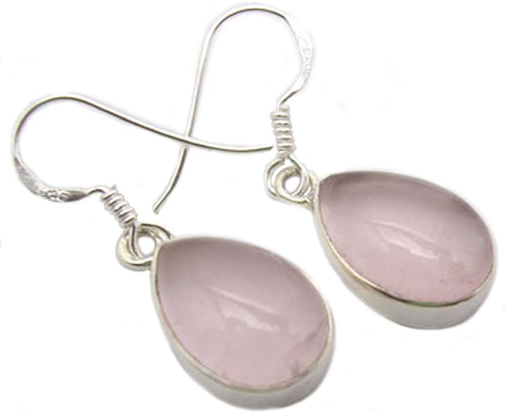 Pendientes cuarzo rosa, plata maciza 925 - Tamaño de piedra 10x14mm