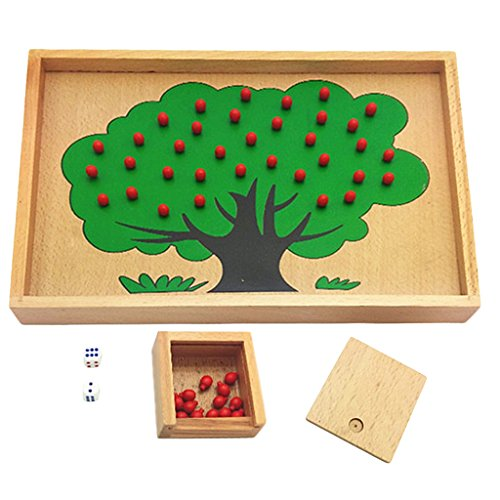 Jili Online Wooden Montessori Beechwood Apple Tree Board Kids Learning Counting Numbers Quantity Fun Game Toy Set Christmas Gift