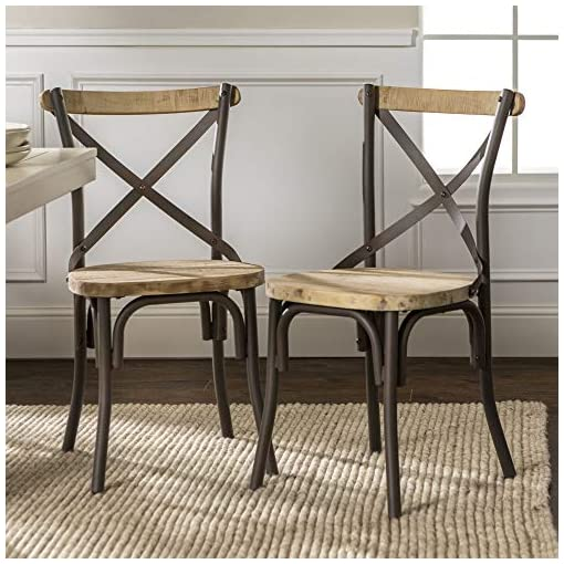 We Furniture Industrial Farmhouse Wood And Metal X Back Kitchen Dining Chairs Set Of 2 Black Beachfront Decor