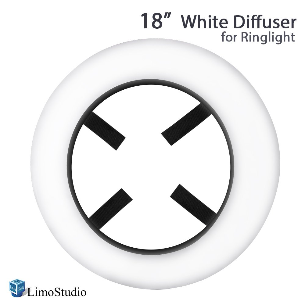 LimoStudio 18-inch Diameter Professional White Diffuser Cover for Ring Light with Integrated Velcro Straps, Ring Light Diffusion Cloth, AGG2327