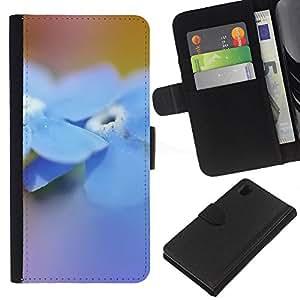 BearCase / Cuero de la tarjeta la carpeta del tirón Smartphone Slots Protección Holder /// Sony Xperia Z1 L39 /// Flor azul de la primavera Naturaleza