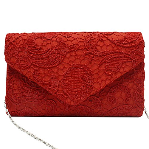 Purse Floral Women Handbag Bag Party Clutch Nice Lady Bridal Lace white Evening Wiwsi 5PWSfn0W