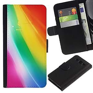 UberTech / Samsung Galaxy S3 III I9300 / Rainbow Bright Pastel Colors Drawing / Cuero PU Delgado caso Billetera cubierta Shell Armor Funda Case Cover Wallet Credit Card