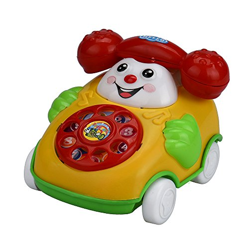 Anyren Smile Telephone Car Cartoon Top Chain Car with Retro Chatter Phone Developmental Kids Toy Learning Toys for Child Toddler Gifts