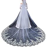 Faiokaver Wedding Veils Cathedral Length 1 Tier Lace Long for Bride with Comb