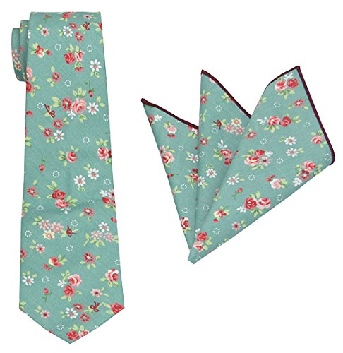 Mens Charm Various Florals Cotton Tie Set:Neckite with Pocket Square (Turquoise with Rose)