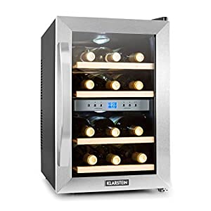 KLARSTEIN Reserva 12 Duo • Dual Zone Wine Cooler • 1.2 Cubic Feet • 4 Shelves • Double-Insulated Glass Door • LED Interior Lighting • Cooling Temperature Between 51°F and 64°F • Stainless Steel