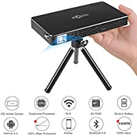 Mini Portable Pico Pocket Projector with 1080P HDMI, Built-In Speakers, Rechargeable Battery, WIFI Wireless Connectivity for Iphone And Android Support Home Theater