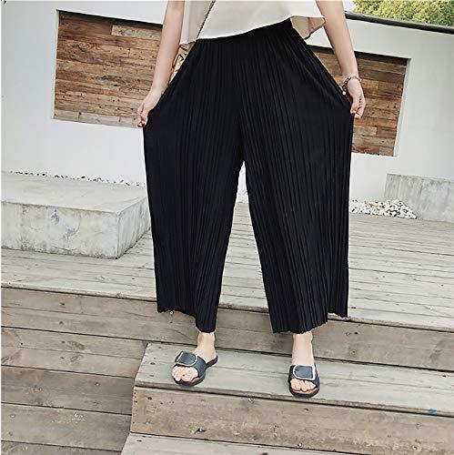 ampi elastico alta da pantaloni eleganti Pantaloni Pantaloni in e leggero a a pieghe estivi in larghe con Pantaloni da vita vita Kbwin chiffon palazzo Nero donna casual donna da 4qPww6R